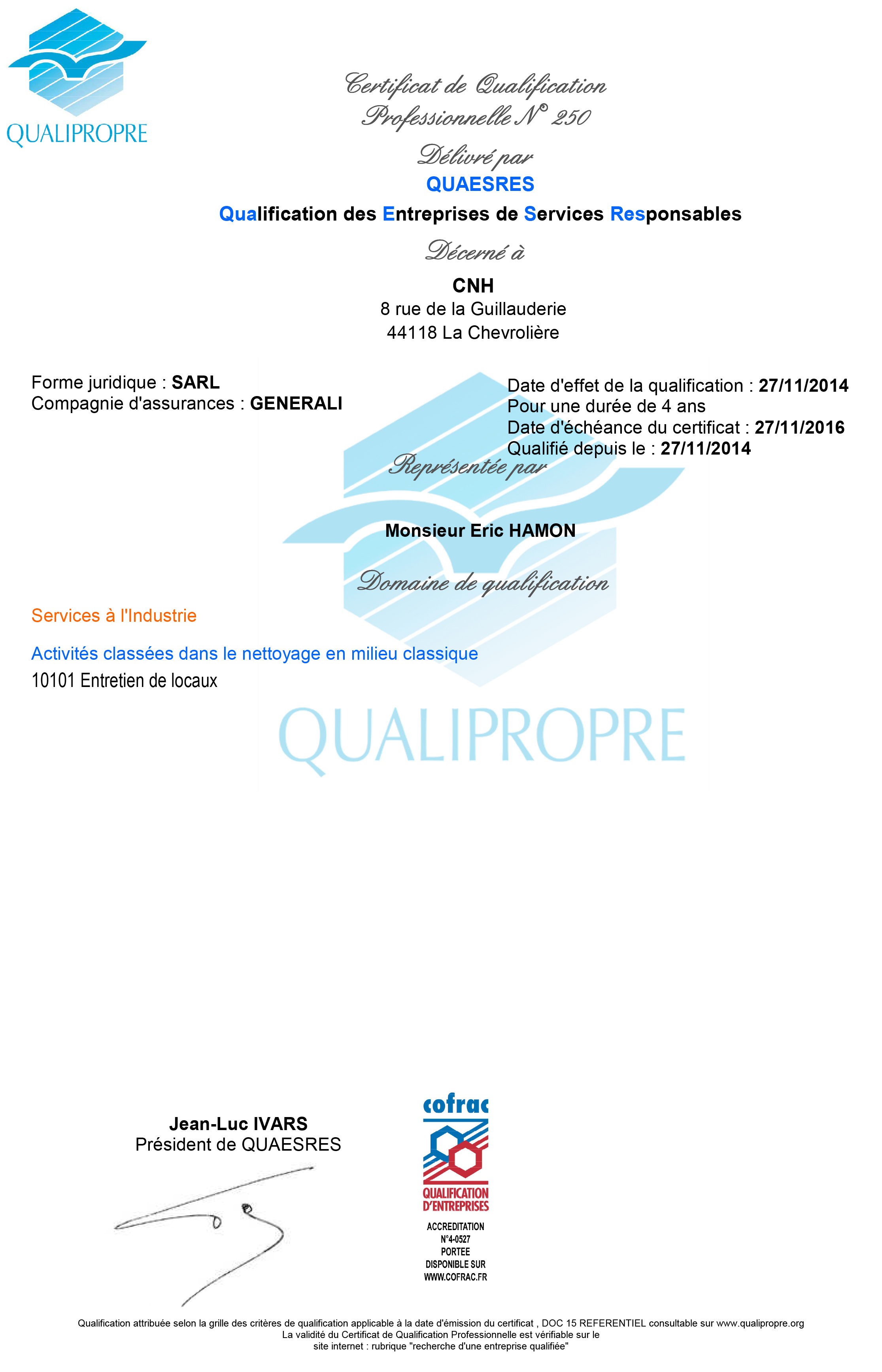Certificat de qualification professionnelle QUALIPROPRE